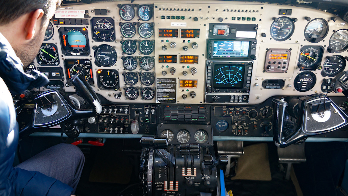 The flight deck of Air Affairs Beech Aircraft Corp B200T turboprop VH-LAB. (Airservices)