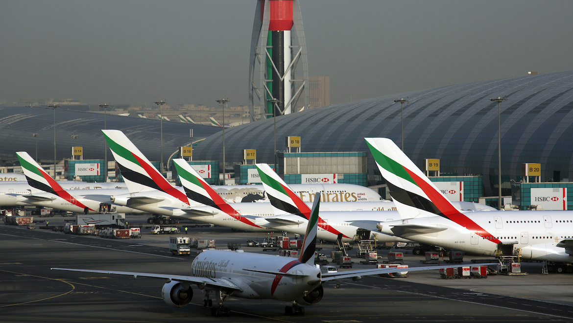 A line up of Emirates aircraft at Dubai. (Rob Finlayson)