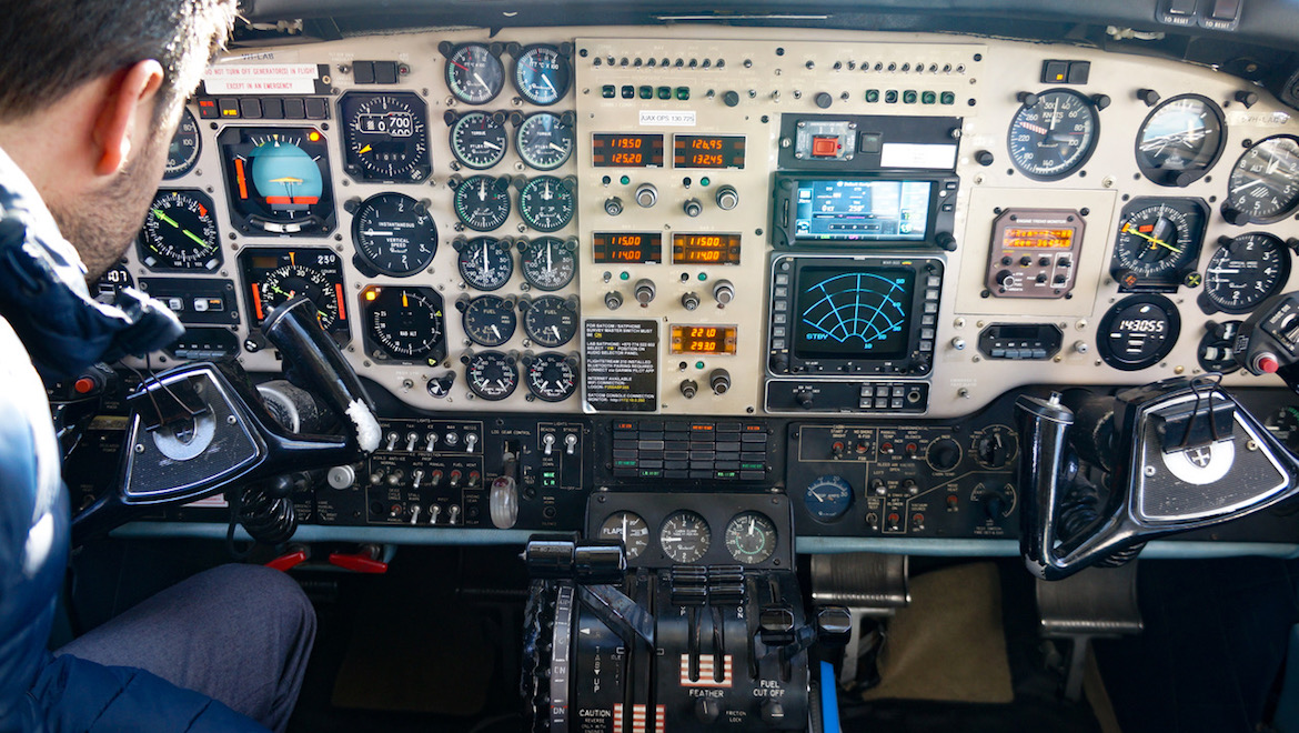 A look at the flight deck of Airservices used a Beechcraft B200T King Air VH-LAB. (Airservices)
