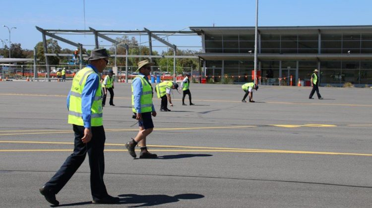 A FOD walk at Albury Airport. (Australian Airports Association)