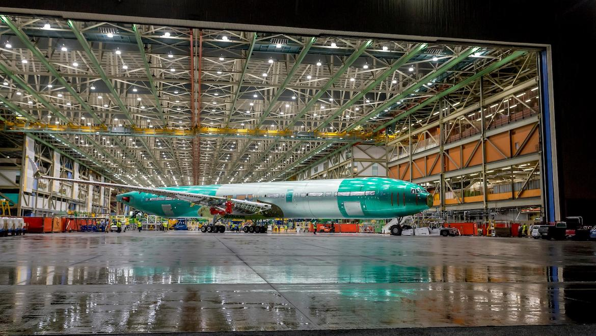 Boeing's first completed 777X aircraft. (Boeing/Twitter)