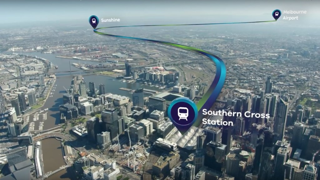 An illustration of the proposed Melbourne airport rail link route from AirRail's YouTube video. (AirRail)