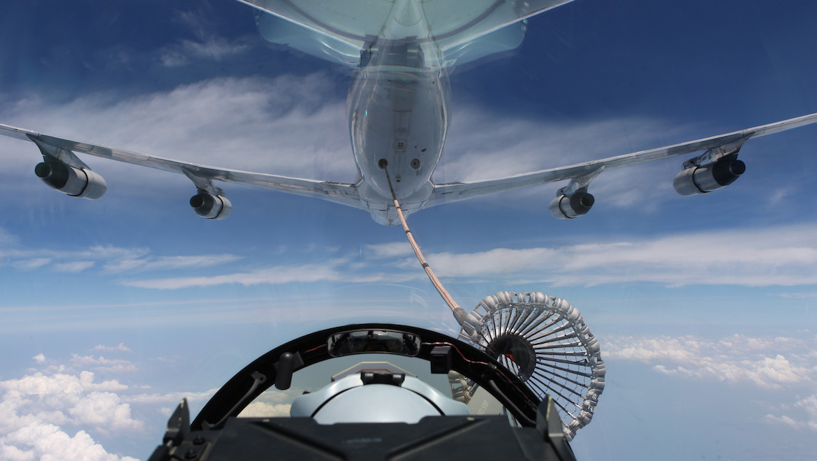 An F/A-18F Super Hornet refuels with the Omega tanker during Exercise Bersama Shield 2011. (Defence)