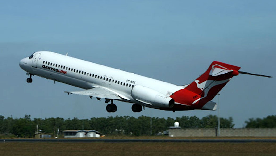 A file image of A QantasLink Boeing 717 at Darwin Airport. (Andy McWatters)