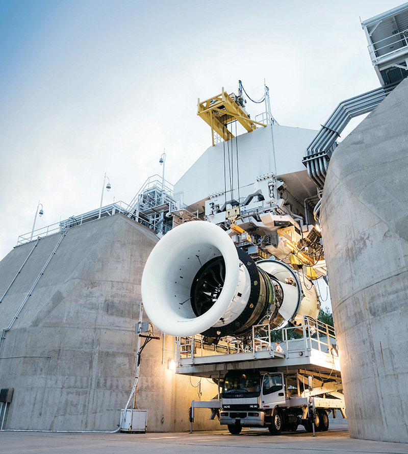 "The fan of the GE9X is more than 11 feet in diameter — 134.5 inches. But Ingling says that a 10 percent fuel improvement compared to its predecessors is ""really the hallmark of the engine."" (GE Aviation)"