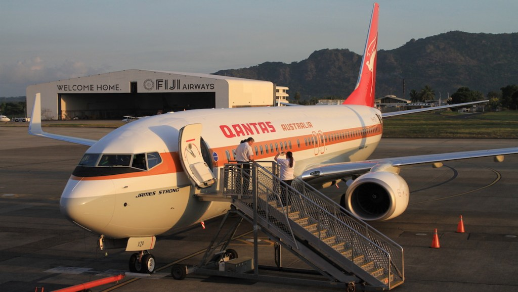 A 2014 file image of Qantas Boeing 737-800 VH-XZP on the ground in Nadi. (Gerard Frawley)