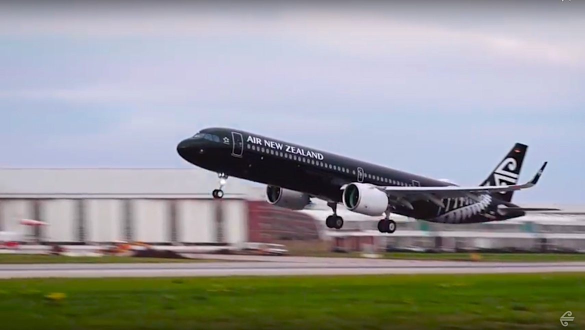 Air New Zealand's first Airbus A321neo takes off from Airbus' Hamburg facility. (Air New Zealand/YouTube)