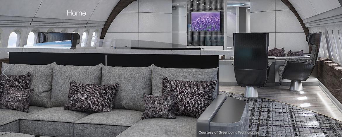 The living room concept for the BBJ 777-X. (Boeing/Greenpoint Technologies)