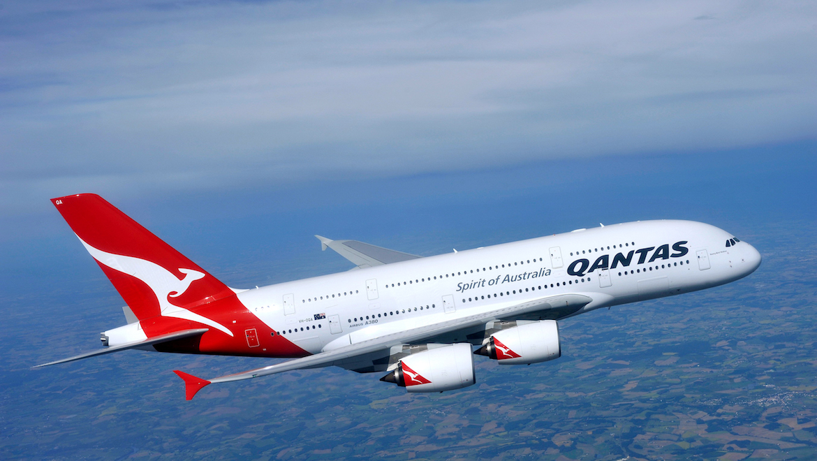 A pre-delivery publicity shot of the first Qantas A380. (Airbus)
