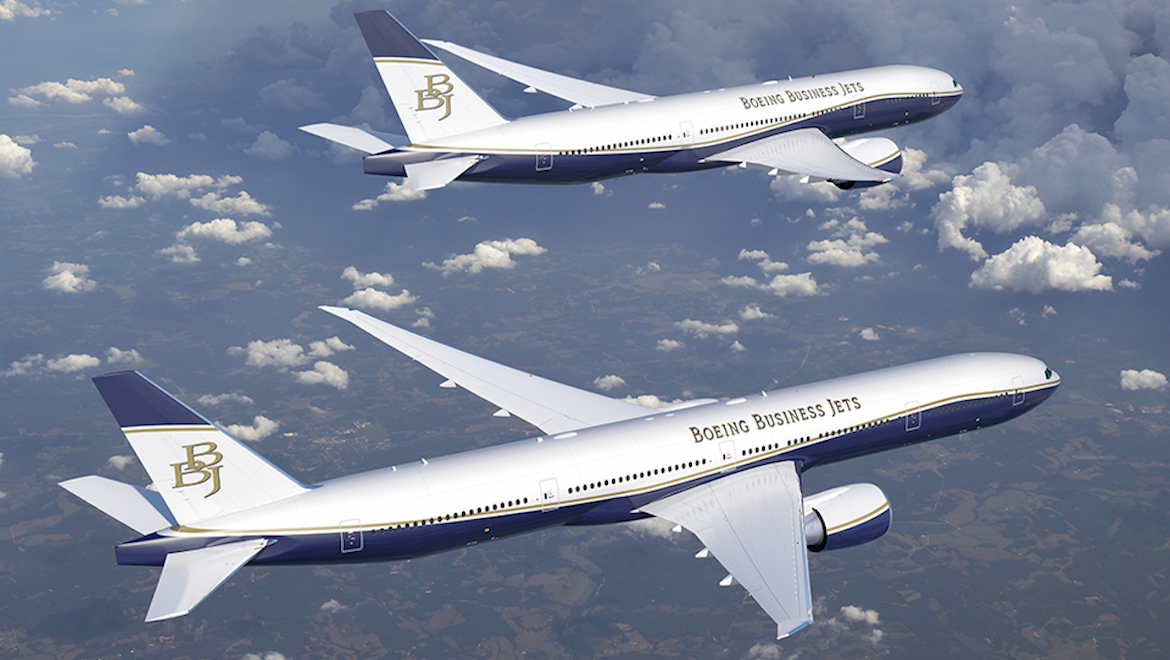 An artist's impression of a Boeing BBJ 777-8X and BBJ 777-9X. (Boeing)