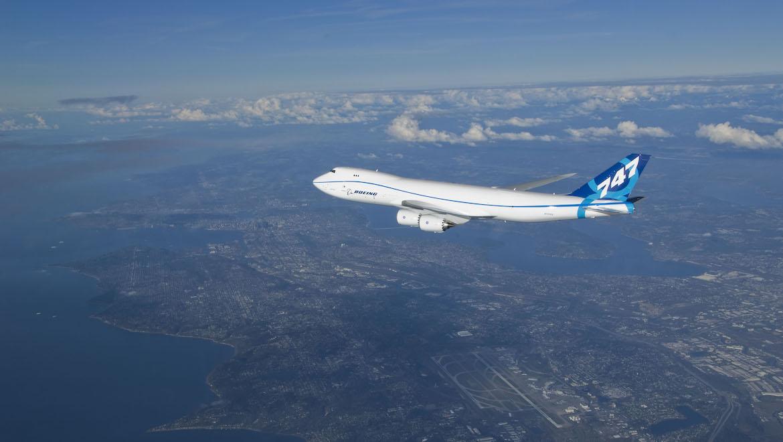 Boeing 747-8F during its 3hr 49min first flight. (Boeing)