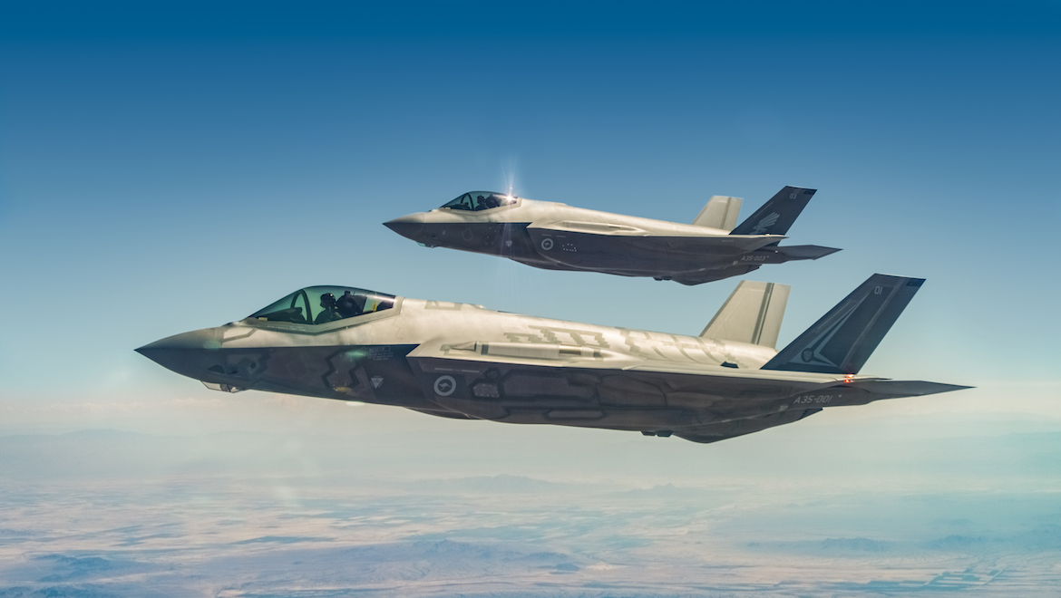 2OCU and 3SQN marked RAAF F-35s over the Arizona desert. (Lockheed Martin)