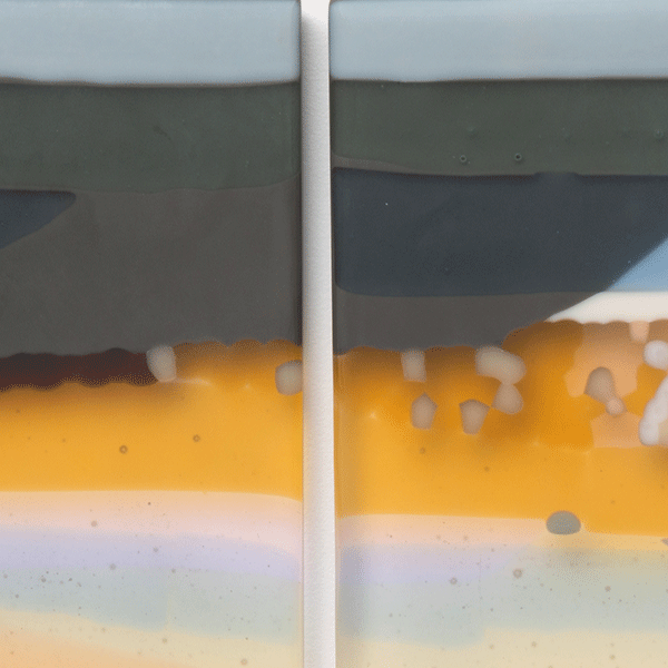 Inlet by Bethany Wheeler. Detail. Fused glass wall panel.