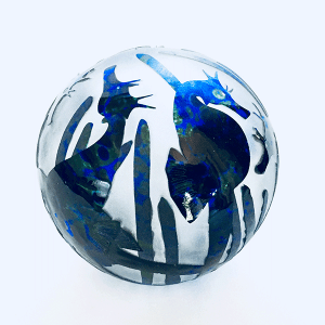 Seahorse paperweight (blue) by Amanda Louden Blown and etched glass