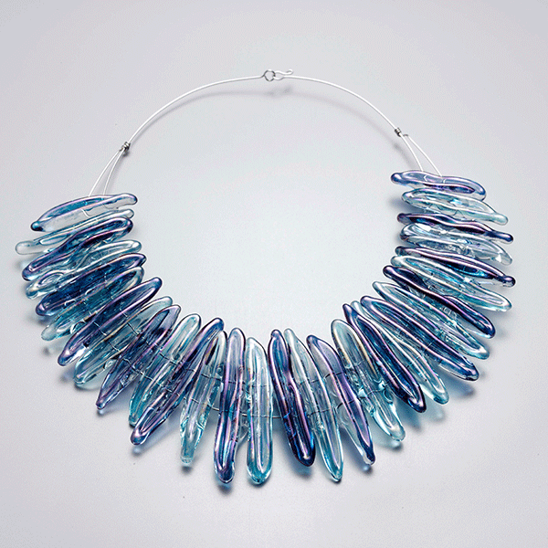 Blue Water necklace by Giselle Courtney. Flame formed glass lustre necklace with stainless steel fittings.