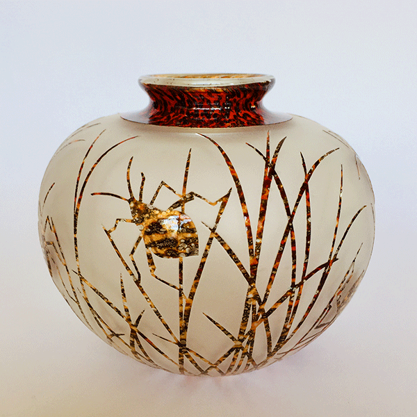 Bug vase (orange) by Amanda Louden. Blown and etched glass.