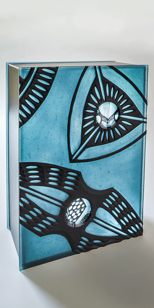 Diatom Box II by Zoe Woods (blue) side 2. Kiln formed glass, wheel cut, mirror, zinc