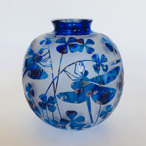 Dragonflies vase (blue green ) by Amanda Louden. Blown and etched glass.
