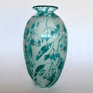 Eucalyptus Ornata vase by Amanda Louden. Blown and etched glass.