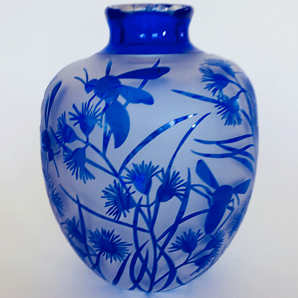 Flowering Gum vase with Wasps by Amanda Louden Blown and etched glass.