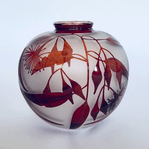 Gum vase (red) by Amanda Louden. Blown and etched glass.