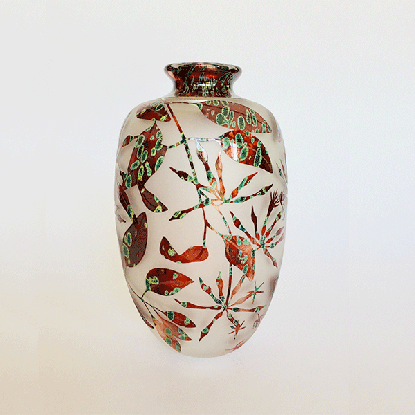 Mistletoe vase (red green) by Amanda Louden. Blown and etched glass.