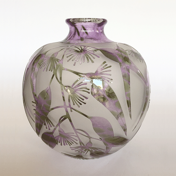 Flowering Gum vase (purple green) by Amanda Louden. Blown and etched glass.