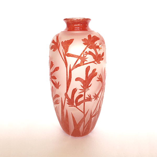 Kangaroo Paw vase (red) by Amanda Louden. Blown and etched glass.