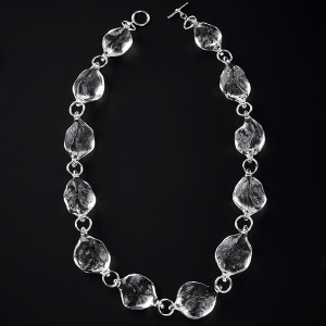 Rock Necklace (short) by Giselle Courtney. Flame formed glass and sterling silver fittings