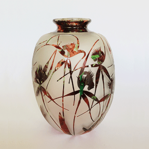 Spider Orchids vase (red green) by Amanda Louden Blown and etched glass.