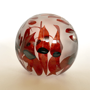 Sturt's Desert Pea paperweight by Amanda Louden. Blown and etched glass.