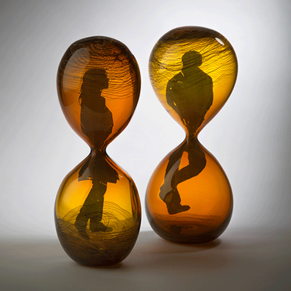 This Time by Laurel Kohut. Blown Glass, painted image.