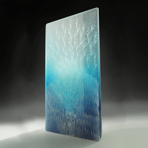Blue World Tropical #6 by Emma Varga. Fused and cast glass sculpture. My places of green series. H 40cm x W 26cm