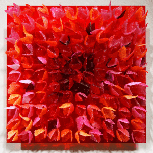 Firebush # 8 by Emma Varga. Glass wall panel, Patè de verre applications. H 30cm x W 30cm x D 4cm