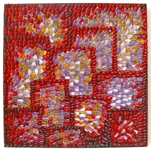 Firebush #1 by Emma Varga. Mosaic wall panel, assembled into stainless steel frame. H 48cm x W 48cm x D 3cm.