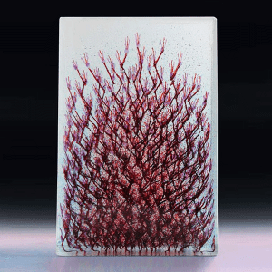 Ada December #1 by Emma Varga. Fused and Cast Glass Sculpture H 42cm x W 28cm x D 6cm