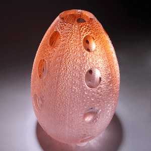 'Urchin' in Apricot (tall) by Kevin Gordon. Blown and Carved glassH 38cm x W 24cm.