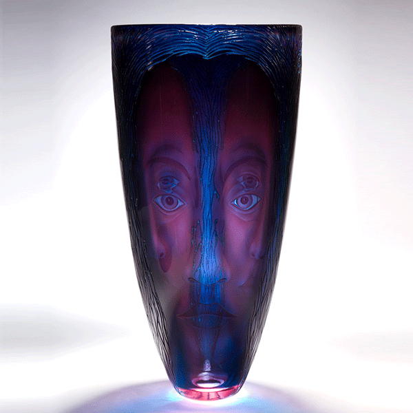 'Temptress' vessel by Kevin Gordon. Blown and carved layered glass vessel. H 40cm x W 20cm