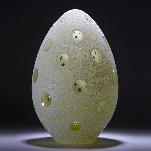 'White Coral Egg' by Kevin Gordon. Blown and carved layered glass. H 29cm x W 18cm