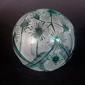 Flowering Gum paperweight by Amanda Louden. Blown and etched glass. H 8cm x W 8cm