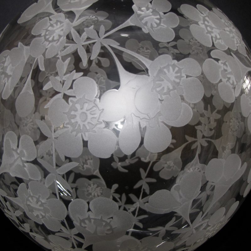 Large Wax Flower-Chamelaucium megapetalum vase. Handblown and etched by Amanda LoudenH 21.5cm W16cm