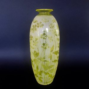 Buttercup - Ranunculus vase. Handblown and etched by Amanda Louden H31cm W 11cm