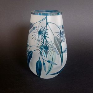 Flowering Gum vase. Handblown and etched glass by Amanda Louden. H 13.5cm W 7.5cm