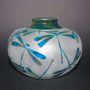 Damselflies vase. Handblown and etched glass by Amanda Louden. H 12cm W 15cm