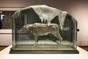 'The Wolf Hour' by Peter Nilsson. Laminated and engraved glass on a steel base. H30cm x W 40cm x D 15cm