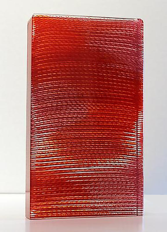 Sunset over the Lagoon by Emma Varga.Fused and cast glass. H 41cm x 25cm x 5cm