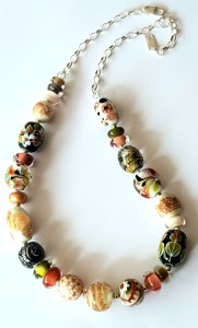 Garden necklace in flame formed beads by Lisa Simmons