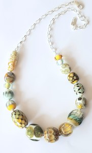 Gold green Garden necklace by Lisa Simmons