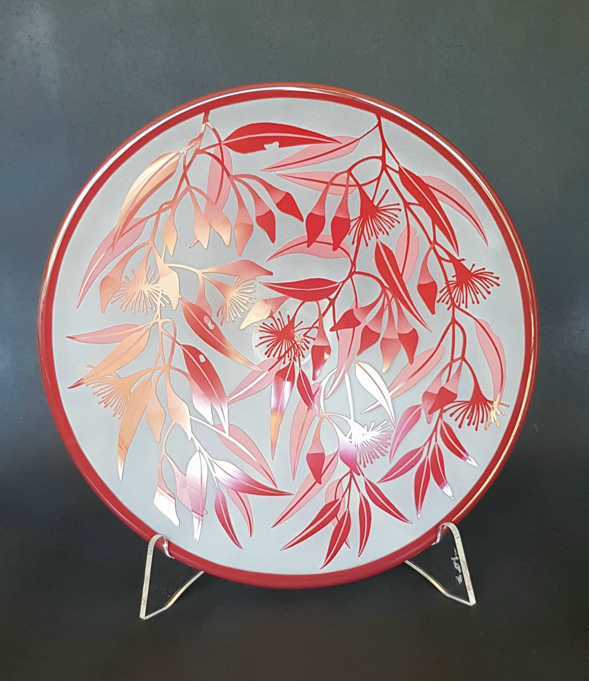 Red Flowered Mallee plate by Amanda Louden.