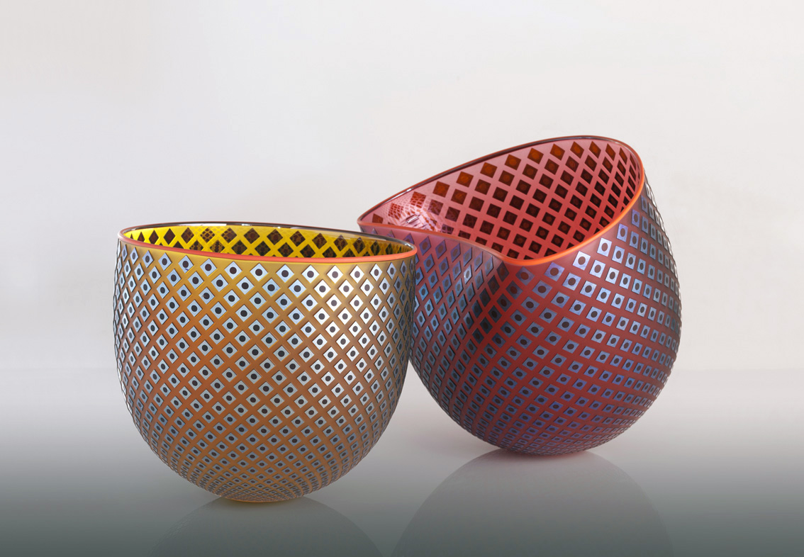 "Woven Light ""Flux Bowls"" pair"